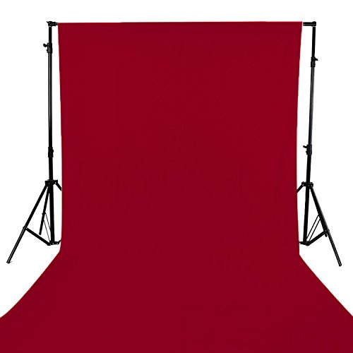 GFCC 6FT x 10FT Red Polyester Backdrop Curtain for Wedding Party Banquet,Fabric Backdrop