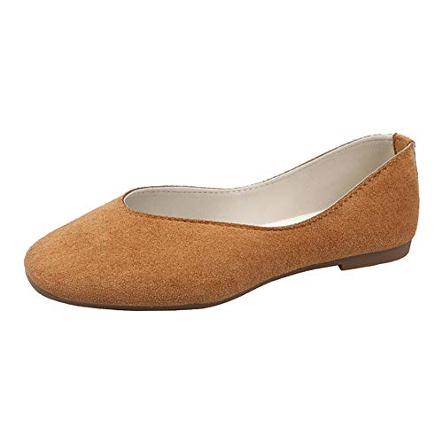 Women Ballet Flats-Womens Slip on Pumps Cute Casual Ballerina Shoes Comfortable Wide Suede Wedding Loafers Light Brown Size 9