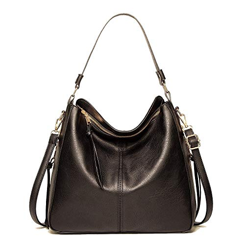 Turpial Icons Damen Handtasche, lockere Tasche im Hobo Stil, groß, Henkeltasche und Umhängetasche (Schwarz)