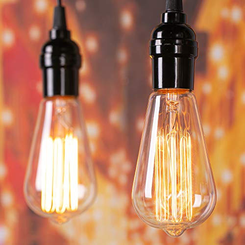 Edison Light Bulbs 60 Watt: 6 Pcs Clear Bulbs with Warm Yellowish Light Suit for E26/E27 Base Dimmable Incandescent Light Bulbs for Vintage Style Home Decoration Light Bulbs