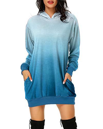 Auxo Femme Sweat à Capuche Longue Hoodie Casual Manches Longues Pull Chic Ample Haut Automne Hiver Sweat-Shirt, 03-bleu, XL