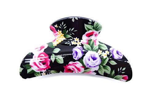 irresistible1 Pince à cheveux en plastique brillant de haute qualité avec dents noires 9 cm de long imprimé floral