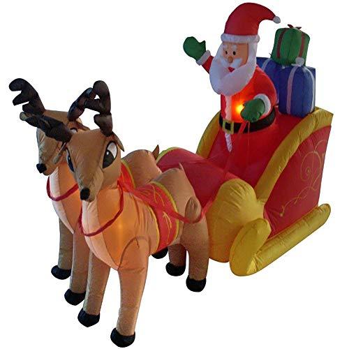 LIGHT Babbo Natale Gonfiabile Con Slitta XXL Babbo Natale Renna Natale Claus Decorazione LED Illuminato Con Materiale Di Fissaggio Decorazione Natalizia