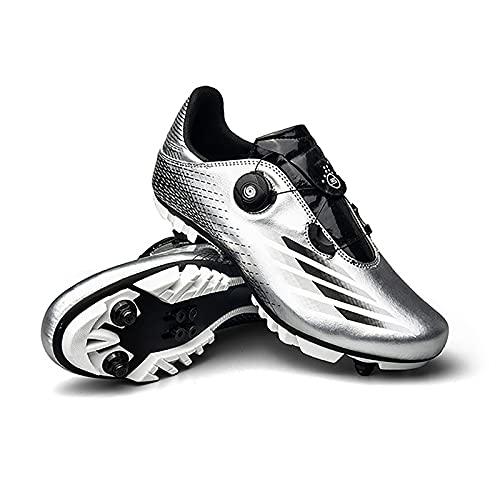 GSYNXYYA Zapatillas de Ciclismo, Zapatos de Bicicleta para Hombre de TPU Ligera, TPU, Zapatos de Bloques MTB Transpirables, sin Bloqueo Transpirables, Antideslizante (37-46EU),Plata,44 EU