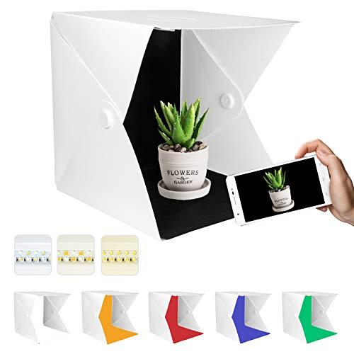 Yorbay Fotostudio Lichtzelt Fotobox, 40x40 cm dimmbar 3 Lichtfarbe (Warmweiß/Weiß/Kaltweiß), 10 Helligkeitsstufen, mit 6 Hintergrund (Weiß/Schwarz/Rot/Grün/Gelb/Blau)