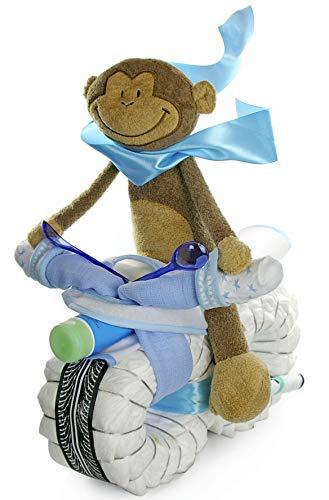 dubistda© Windelmotorrad Junge blau ROCKSTAR mit Fahrer inkl. Baby Kuscheltier / 45-teilig - Geschenk zur Geburt / 45 cm