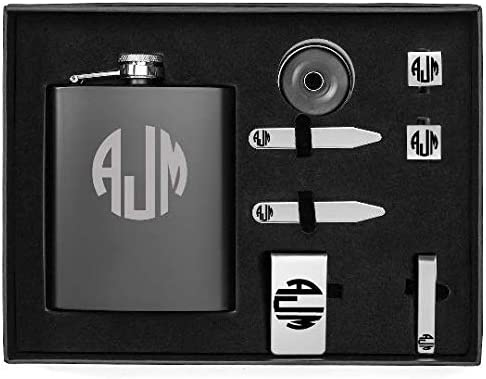Monogram Engraved 7oz Flask, Funnel, Money Clip, Tie Bar Clip, Square Cuff Links, Collar Stays Set Gift Box Set Personalized