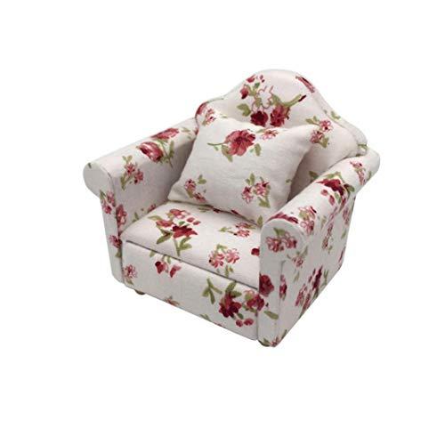 Accesorio para casa de muñecas, 1/12 Mini cojín con estampado floral para sofá modelo casa de muñecas decoración de habitación