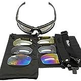 TOMMY LAMBERT Gafas de sol tácticas con 4 lentes intercambiables, protección UV anti niebla gafas protectoras para hombres mujeres ciclismo correr esquí pesca