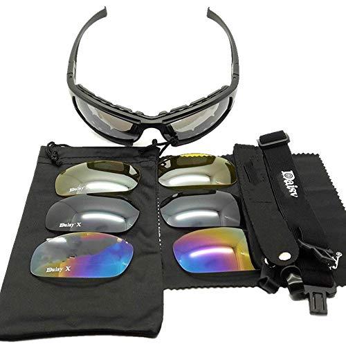TOMMY LAMBERT Taktische Sonnenbrille mit 4 austauschbaren Gläsern, UV-Schutz, Anti-Beschlag-Brillen-Schutzbrille für Männer und Frauen, Radfahren, Laufen, Skifahren, Angeln
