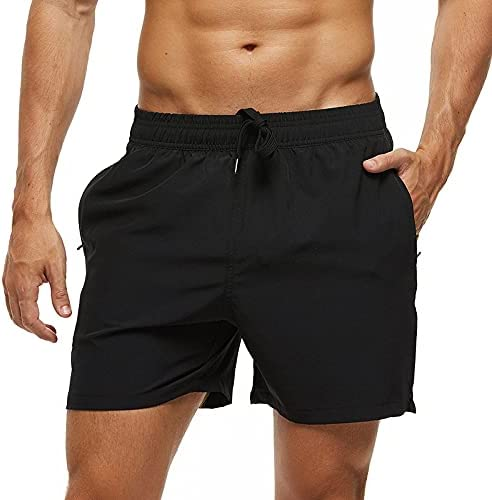 DFLYHLH Men's Stretch Swim Shorts Quick-Drying Beach Shorts with Zipper Pockets and mesh Lining