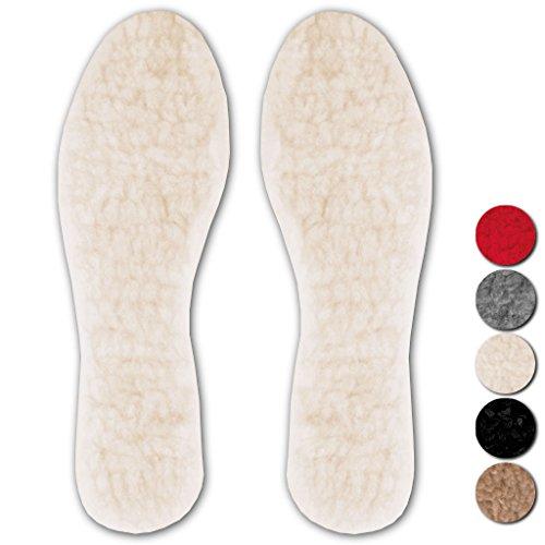 Bestlivings Confezione da 3 solette scaldamuscoli in pelo d'agnello, taglia 39/40, colore: crema – beige