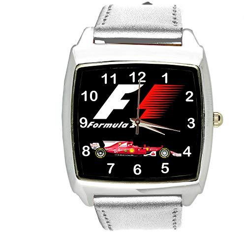Reloj analógico de cuarzo con correa de piel auténtica y cuadrado plateado para ventilador de la Fórmula 1 de TAPORT