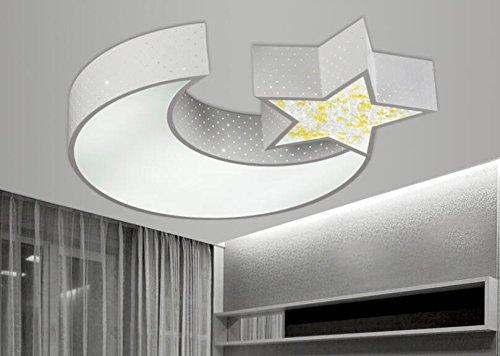 LYXG Lampe de plafond LED lights, garçons et filles Lune Étoile creative chambres enfants etude de la lumière des lampes en fer art lumière (550mm*70mm), boîte blanche avec de la lumière blanche