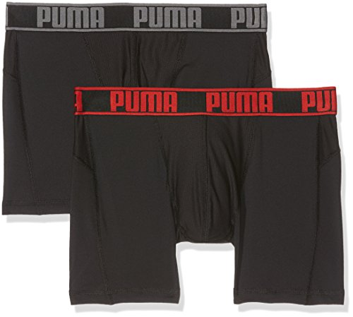 PUMA Herren Active Boxer 2P Packed Unterwäsche, Black/Red, L (2er Pack)