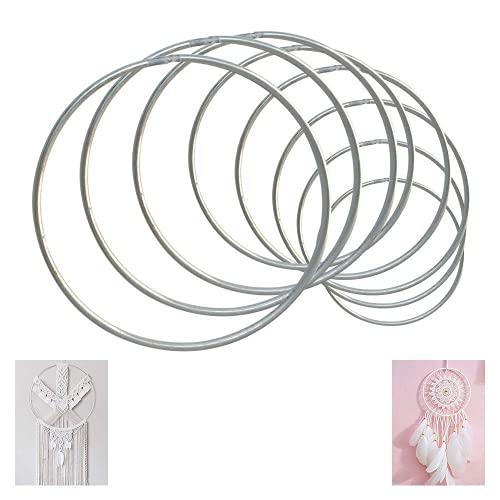 Koytoy 18 Stück Metallringe Drahtringe Set 10 Größen Metall Ringe Hoops für Traumfänger DIY Handwerk Mobile Basteln(Silber)