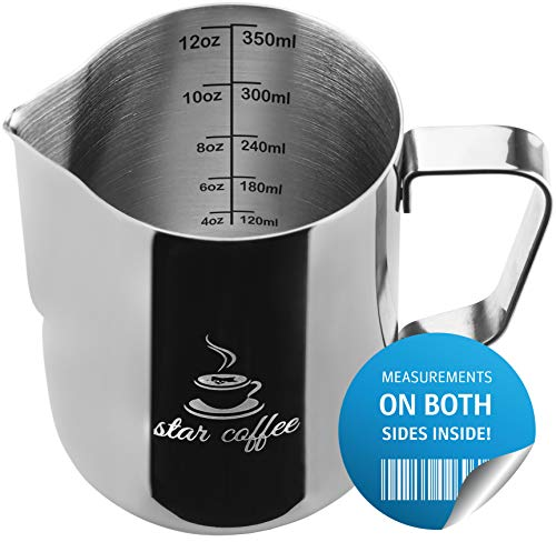 Star Coffee Frothing Pitcher 12oz - Milk Steaming Pitchers 12 20 30oz - Measurements on Both Sides Inside Plus eBook - Perfect for Espresso Machines, Milk Frothers, Latte Art - Stainless Steel Jug