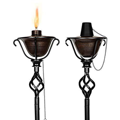 BIRDROCK HOME 2 Pack Outdoor Wide Conical Torches - 2-in-1 Yard or Tabletop Torch - Distressed Bronze - Flame Light Torch - Backyard Garden Patio Lighting - Metal Lamp - Decorative Urban Lantern