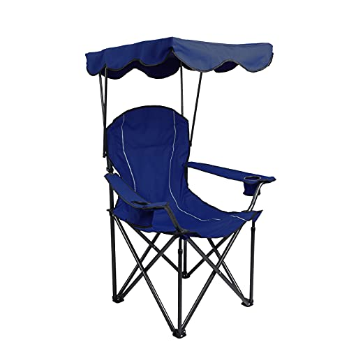 ALPHA CAMP Camp Chair with Shade Canopy Folding Camping Recliner Chair with Carry Bag for Outdoor Camping Hiking Beach, Heavy Duty 330 LBS, Navy