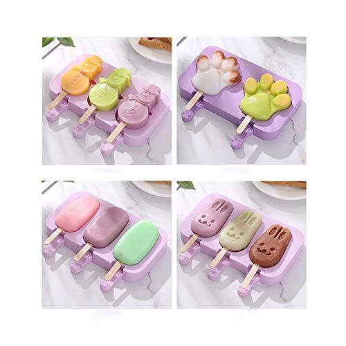 Wenlai 4PCS Silikon-Form-Hausgemachte Sommer Eiscreme-Form, Klassisches Oval/Cartoon Kaninchen/Schneemann/Bärentatze, Lila Eisformen Silikon, Wiederverwendbare Popsicle Ice Molds
