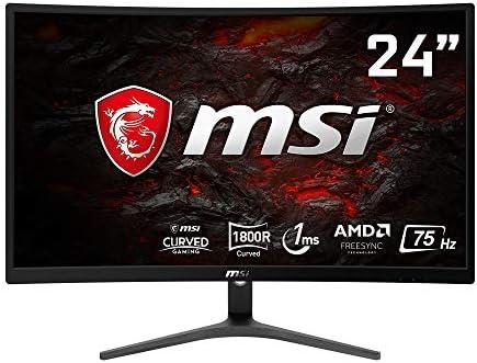 MSI Optix G241VC Curved Gaming Monitor 23.6 Inch, Full HD, VA, 75 Hz, 1 ms, 1920 x 1080, 1800R, VGA, HDMI, AMD FreeSync