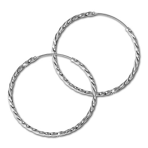SilberDream Ohrringe 40mm Damen-Schmuck 925er Silber Creolen gedreht SDO87124