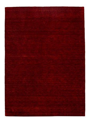 Morgenland Gabbeh Teppich Rot UNI Einfarbig Handgewebt Schurwolle 60 x 40 cm Fußmatte