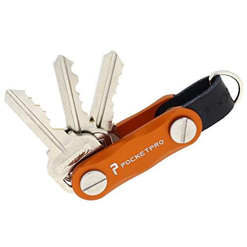 PocketPro Singularity - Compact Key Holder - Smart Key Organizer - Up To 8 Keys - Aluminum - Made In America (Sunrise Orange)