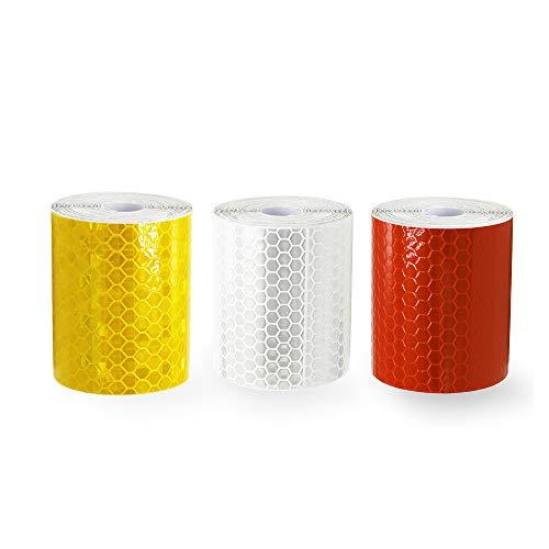 JCstarrie Reflektorband Klebeband für Sicherheit Warnklebeband Sicherheit Markierung Band Silberweiß Golden und Rot 3 Rolle 5 * 300cm