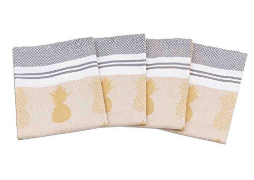 myHomery Geschirrhandtücher mit modernen Motiven im praktischen 4er Set aus 100% Baumwolle Ananas - Gelb | 4er-Set - 50 x 70 cm