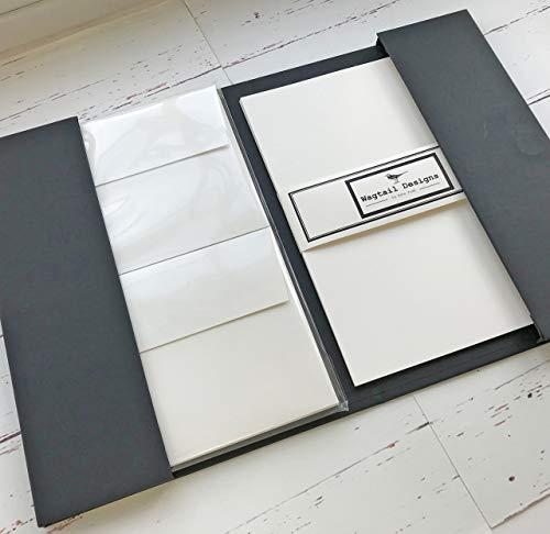Briefpapier-Geschenkset in wunderschöner, schwarzer Schachtel mit Schleife, blanko, elfenbeinfarben (creme), 18Blatt Qualitäts-Schreibpapier mit passenden Umschlägen, von Wagtail Designs