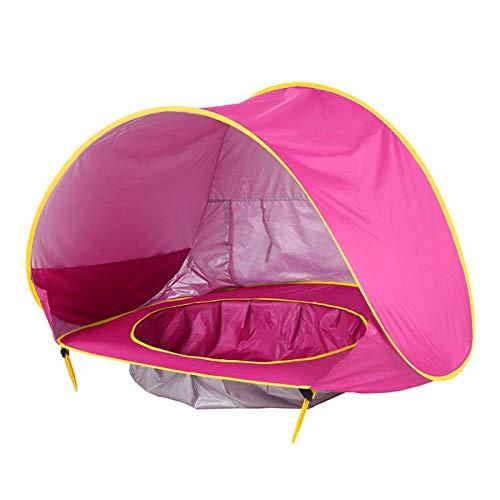 Tienda Playa Bebe Modelo Actualizada,Pop up Tienda de Bebé con Piscina para Infantil, Carpa Automática Plegable Portátil de protección Solar Anti UV 50+ (Adecuada para bebé) (Rosa roja)