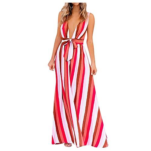 YWLINK Vestido De Tirantes A Rayas ArcoíRis para Mujer,Vestidos Sexys Escotado por DetráS, Vestido De Verano Colorido con Cuello En V Profundo Sexy Vestido De Playa Estampado Falda De Playa Vestido