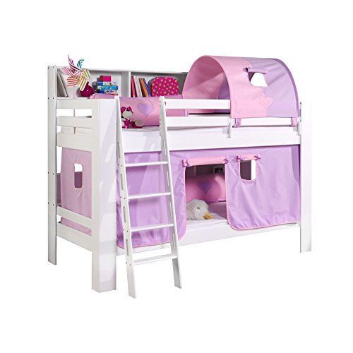 Relita Etagenbett Jan mit Bücherregal, Vorhang und Tunnel Buche massiv, weiß lackiert, Stoff flieder/rosa