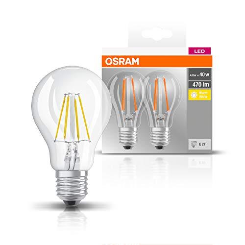 Osram LED Base Classic A Lampe, in Kolbenform mit E27-Sockel, nicht dimmbar, Ersetzt 40 Watt, Filamentstil Klar, Warmweiß - 2700 Kelvin, 2er-Pack