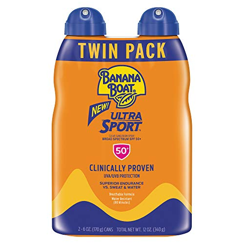 Banana Boat Sunscreen Ultra Sport Performance, Broad Spectrum Sunscreen Spray - SPF 50 - 6 Ounce Twin Pack