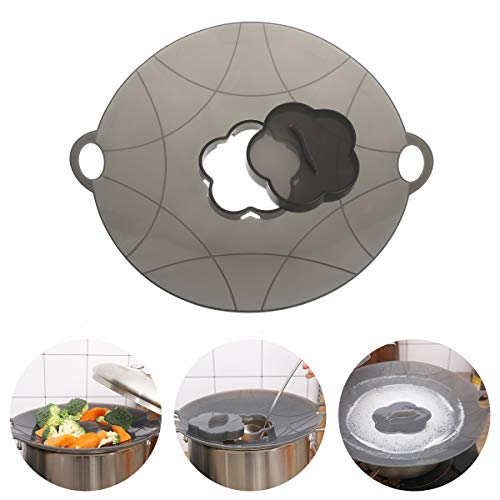 EuChoiz Silicone Spill Stopper Lid, Silicone Boil Over Safeguard Anti Spill Lid Cover Multi-Function Kitchen Cooking Tool for Cooking Pots from 7-10inches