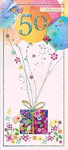 Female Age 50 Floral Balloons Card with Foil Finish