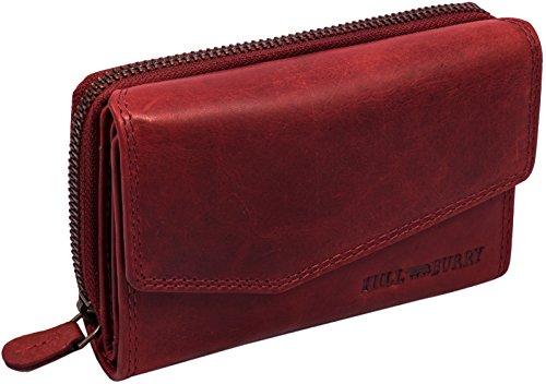 Hill Burry Damen Leder Geldbörse | Vintage Echt-Leder Portemonnaie mit vielen Fächern | Kompakte Geldbeutel - Portmonee (Rot)