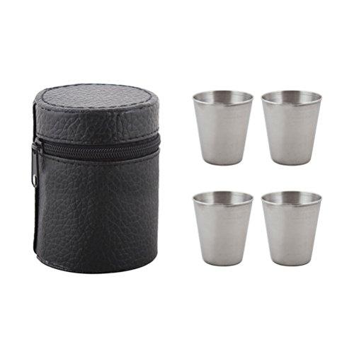 BESTONZON - Vasos de chupito de acero inoxidable (4 unidades, con estuche de piel)