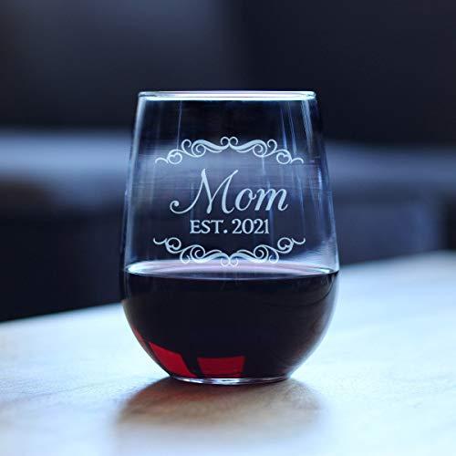 Generic Branded Weingläser - Mom Est. 2021 Upgrade Schnitzen Obst Glas Good Touch Personalisieren Dekoration