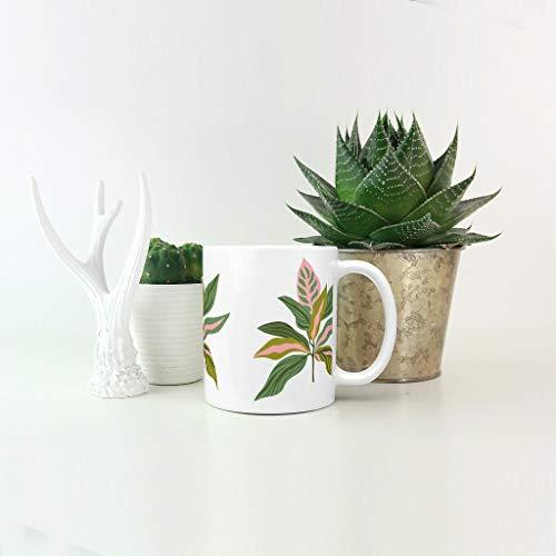 O5KFD&8 11 Oz Pflanze Branch - Taza de café con asa (cerámica), diseño retro, cerámica, blanco, 330ml