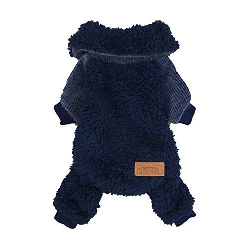 Fitwarm Fuzzy Thermo-Rollkragenpullover für Hunde, Winterkleidung, Haustier-Jumpsuits, Katzenmantel, Samt, Blau, XL