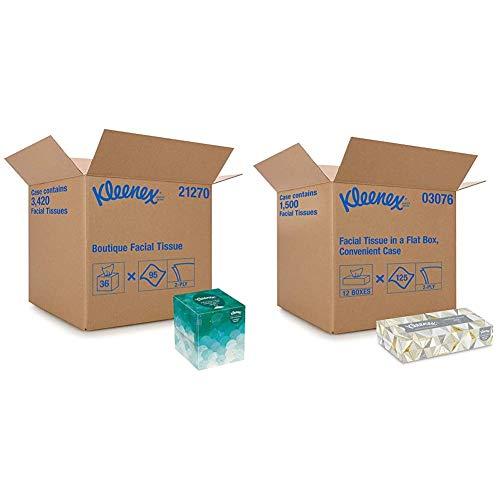 Kleenex Professional Facial Tissue Cube for Business (21270), Upright Face Tissue Box & Professional Facial Tissue for Business (03076), Flat Tissue Boxes, Convenience Case