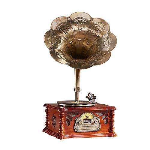 Yamyannie Tocadiscos de Vinilo Gramófono De Altavoz Retro Disco De Vinilo Electro Fonógrafo, Estilo De Estar De Estilo Europeo, Muebles para El Hogar para Casa (Color : Marrón, Size : 46x39x83cm)