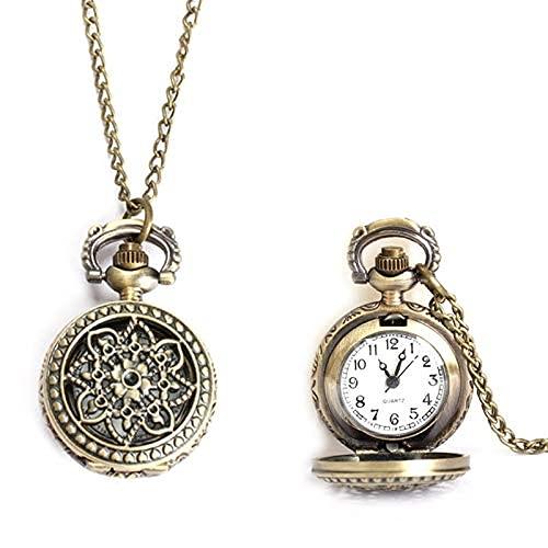 BWHTY Mujeres Hombres Reloj de Bolsillo Vintage Tamaño pequeño Lotus Hollow out Collar de Reloj de Cuarzo Cadena