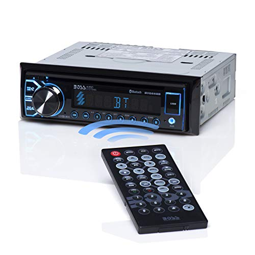 BOSS Audio BV6658B Car Stereo DVD Player – Single Din, Bluetooth Audio and Hands-Free Calling, Built-in Microphone, CD DVD MP3 USB AUX Input, AM FM Radio Receiver, LCD Display, Wireless Remote Control