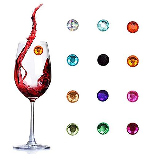 LQKYWNA 12 Uds Anillo De Copa De Vino Cristal Magnético Encantos De Copa De Vino Signo Marcador De Bebida para Vidrio DIY Decoración De Copa De Vino