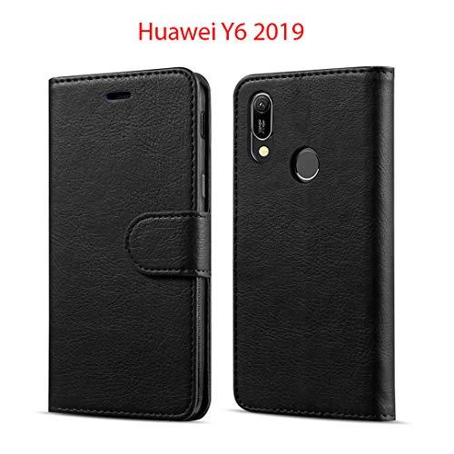 New&Teck Coque Huawei Y6 2019 Housse Etui Portefeuille Cuir Multifonction, Fermeture Magnétique à Clapet Anti-Choc Noir
