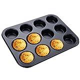 ilauke Muffin Backblech 12er, Muffinblech mit Antihaftbeschichtung, Muffinform für Muffin-Backen, Cupcakes, Brownies, Kuchen